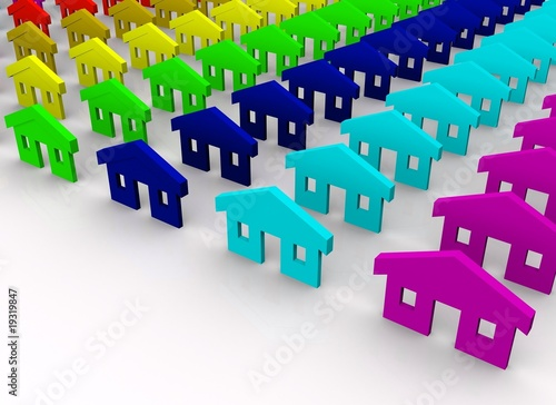 Colorful toy houses concept