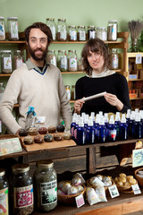 A couple shop for natural healing products