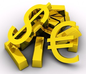 Gold bars and golden dollar & euro sign on white background.