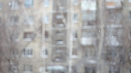 Falling snow. Good winter weather. Shallow DOF