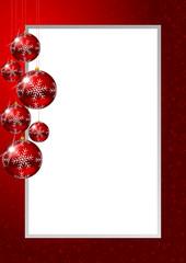christmas frame with glass balls and stars