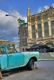 Havana car and revolution palace poster