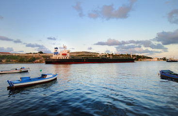 Cargo ship in havana bay, cuba