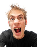 Screaming enraged young man isolated on white poster
