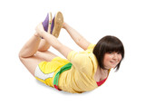 Sporty girl in yellow sportswear. Isolated poster