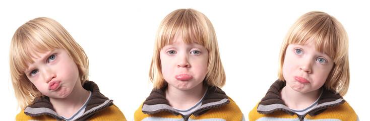 sad upset child isolated