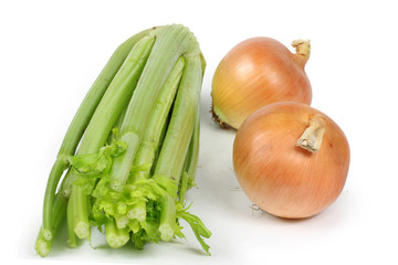 two  onions and a single celery close-up white background