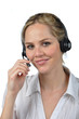 friendly, blond girl in the call center