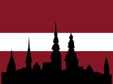 silhouette of Riga on Latvia flag background poster