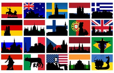 set of silhouettes of monuments with flags