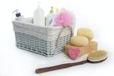 Bath toiletries basket with shower gel poster