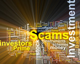 Investment scams word cloud glowing poster