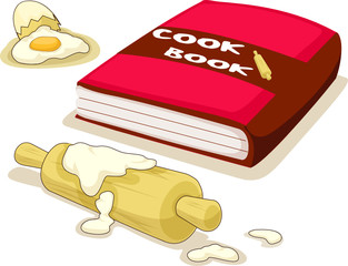 cookbook with rolling pin and broken egg