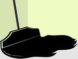Illustration of  silhouette of a cleaning mop