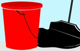 Illustration of a mopping brush and bucket
