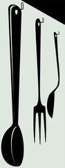 Illustration of kitchen tools on wall