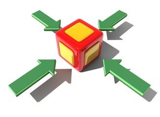 würfel grün Pfeil cube green arrow