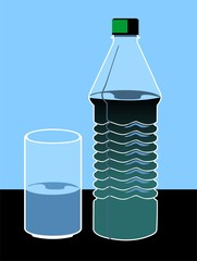 Illustration of a water bottle and glass