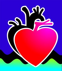 Illustration of a heart and black shade