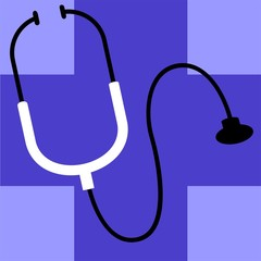 Illustration of stethoscope on top of a blue surface