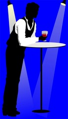 Illustration of silhouette of a man with drinks