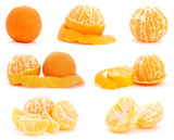 Set of mandarin fruits on white