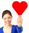 Valentine woman holding copy space sign