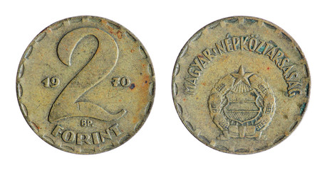 Old Hungarian coin on the white background. (1970 year)