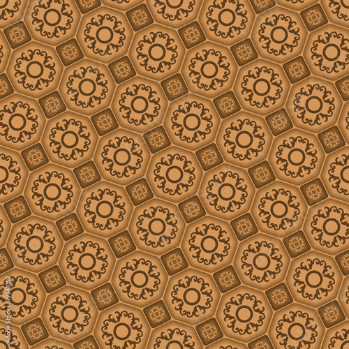 Seamless 3d tile vector pattern with ornament
