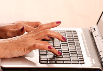Female hands on Laptop Keyboard