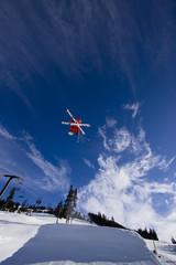 Ski jump blue sky
