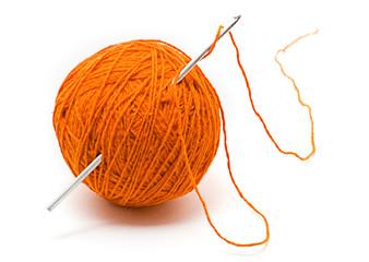 skein of wool yarn and crochet hook