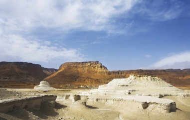 Picturesque ancient mountains, desert and canyon about the Dead