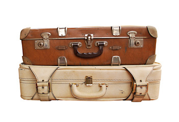 Antique Suitcases Isolated on White Background