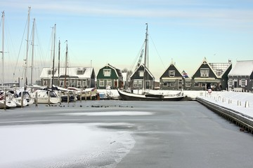 The harbor from Marken in winter in the Netherlands