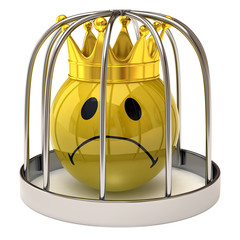 smiley king in a cage