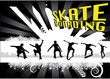 skateboarders on abstract city background