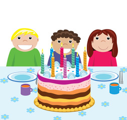 children and big birthday cake