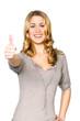 Blonde Frau macht Top Daumen