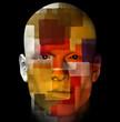 Male portrait and colorful cubist pattern. 3d illustration.