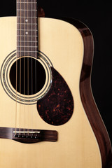 Guitar Acoustic Close Isolated Black