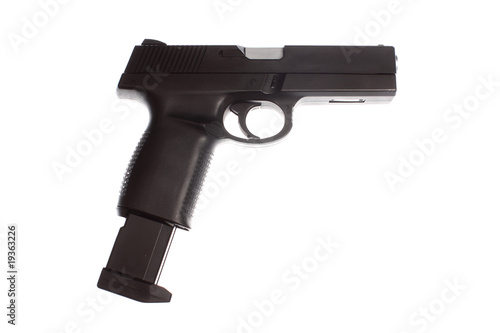 A semi-automatic pistol with an extended magazine.