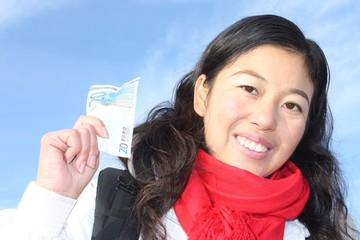 Chinese girl with Euro