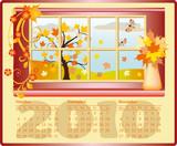 Beautiful calendar for 2010, October, November, December. vector poster