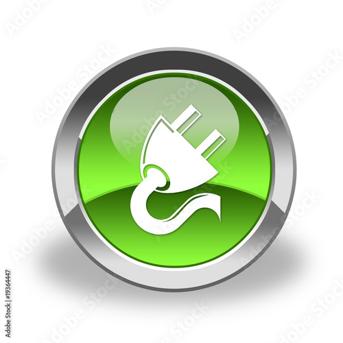 plug, connector icon& button, green and glossy
