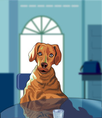 Illustration of a dog sitting in a chair