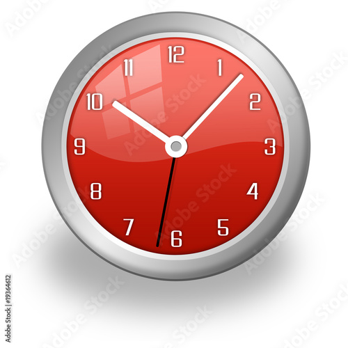 red stylish and modern clock, glossy and red
