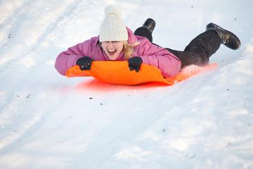 Girl having fun in snow