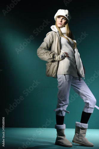 fashion model on blue light background