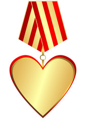 Gold medal-heart (vector)